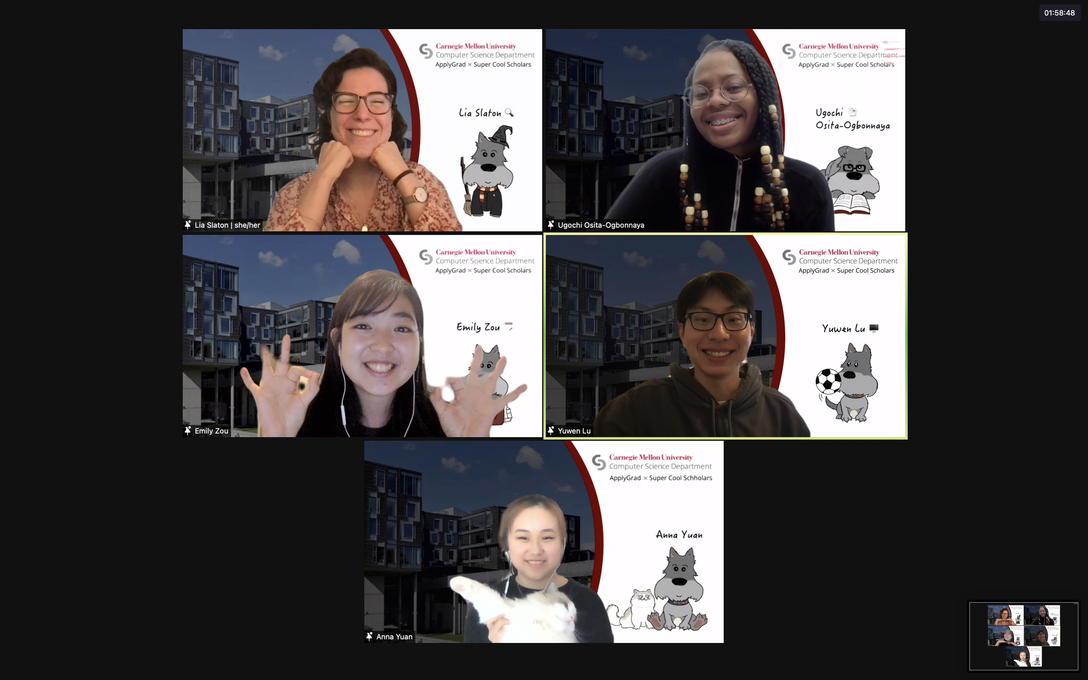 virtual group photo of the 5 students on Team ApplyGrad; each student in their Zoom window