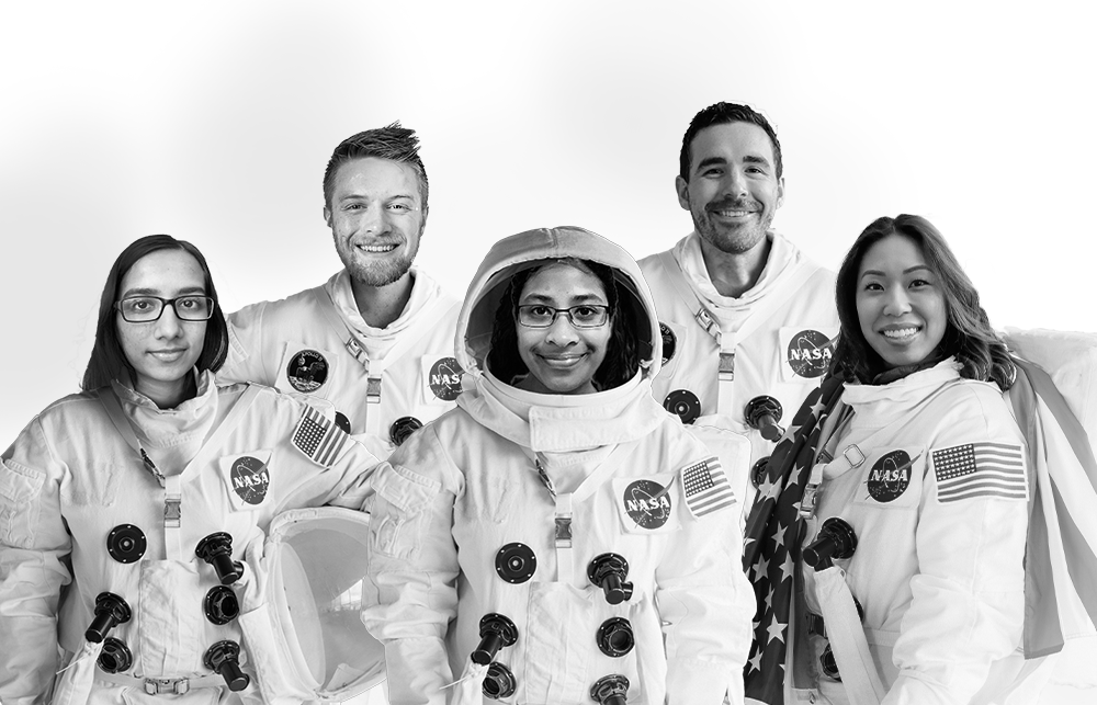 black and white image of 5 students on Team Chronos