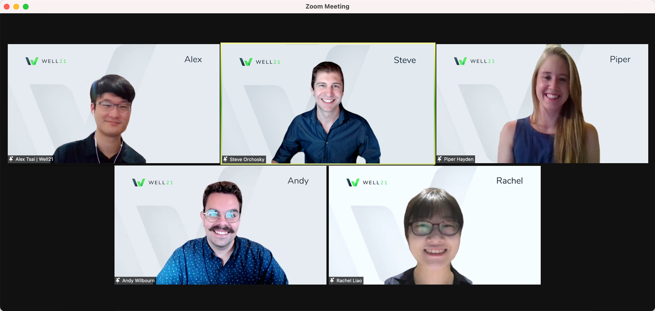 Virtual team photo of 5 students on Zoom