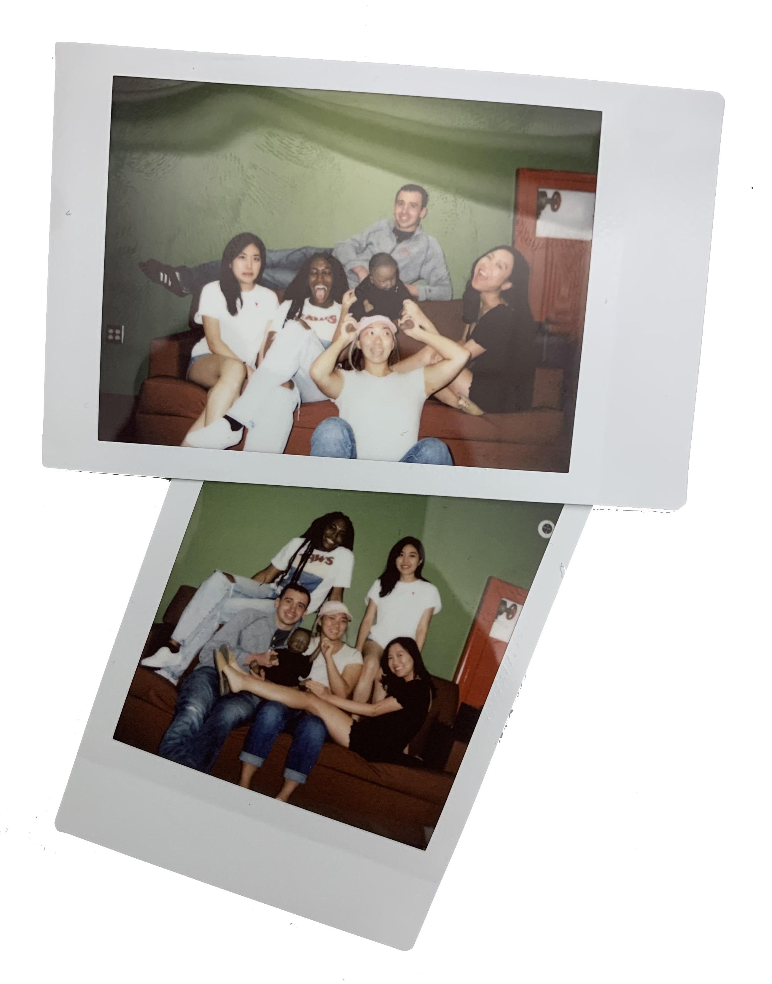 2 slightly overlapping Polaroid photos of this team