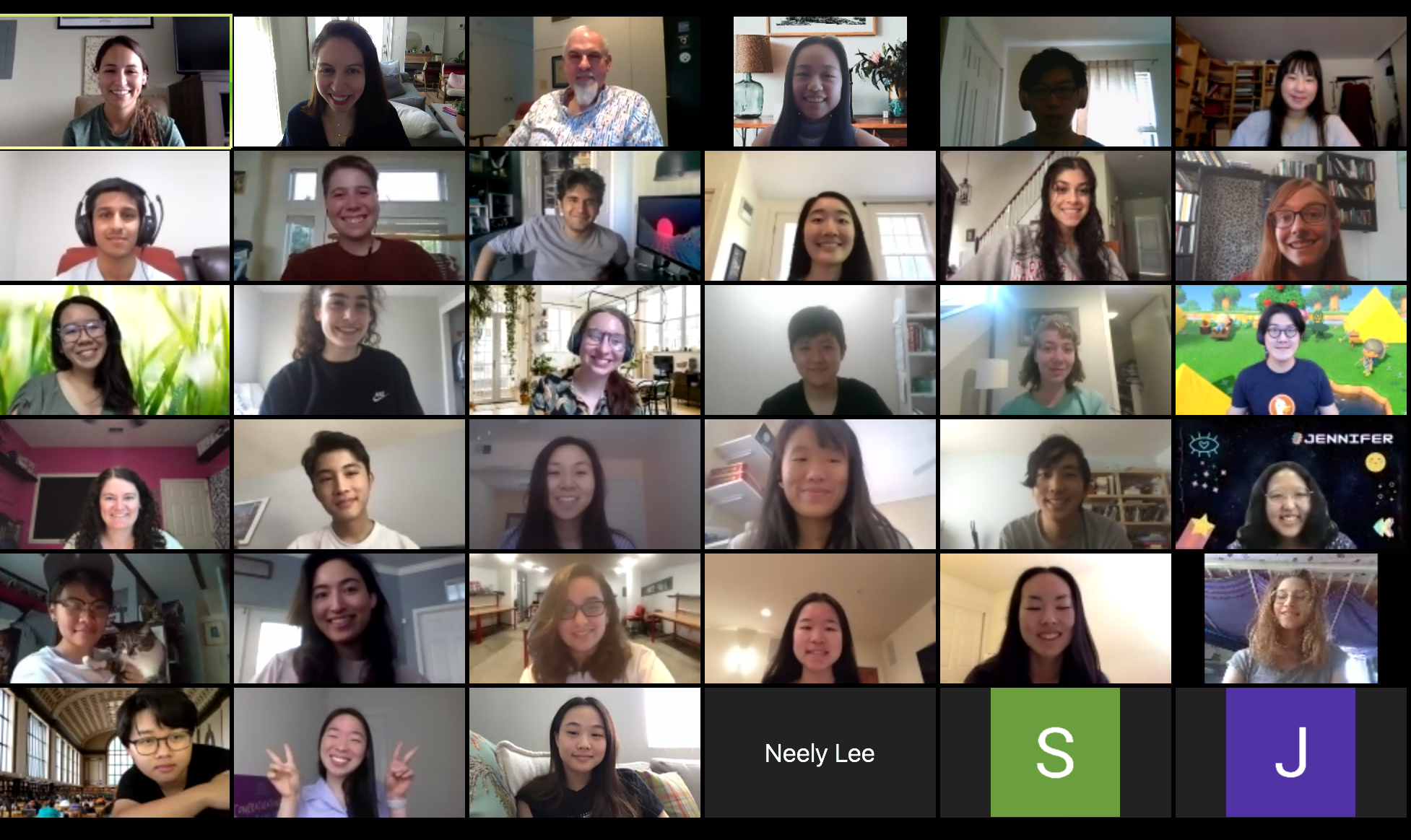 screenshot of a virtual meeting on Zoom with dozens of students