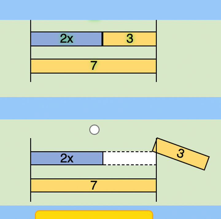 screenshot of the intelligent tutoring system for algebra