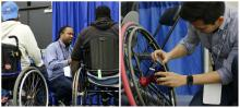 2 side by side photos of an HCII PostDoc and PhD student with the SpokeSense prototype at the NWBA basketball tournament