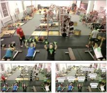 image of gym weight room featuring GymCam green rectangle overlays that recognize exercise motions