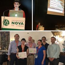 2 pictures of MaryBeth Kery presenting  at VLHCC; 1 picture of MaryBeth and Brad Myers and receiving the best paper award