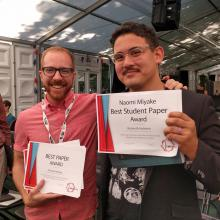 PhD students Madaio and Holstein with their awards at London Festival of Learning