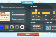 a capture of the computer screen dashboard during the game's tutorial