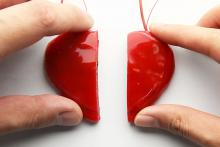 a heart covered in the self-hearling polymer has been sliced in half