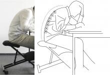 side by side images: left image of a seated person hunched over a desk; right image a line drawing of the person with RFID sensor tags on spine