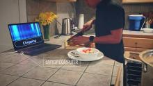 sensors in the kitchen recognize the sound of someone chopping vegetables and displays