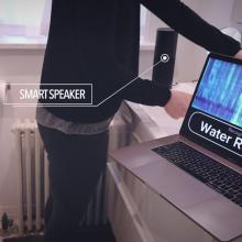 a smart speaker hears water running nearby and displays this on laptop screen