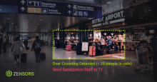 image of airport cafe with crowded area highlighted in a rectangular box