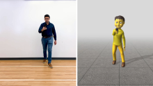 side by side images of Karan holding cellphone and sensor-generated version